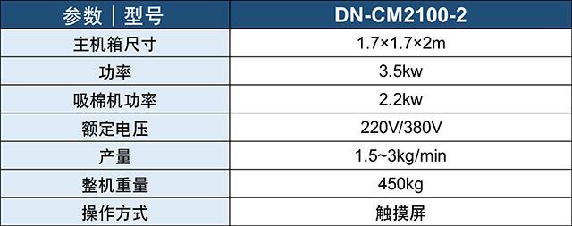 DN-CM2100-2两头流量充绒充棉一体机产品参数表
