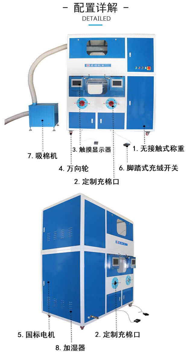 DN-CM2100-4四头流量充绒充棉一体机产品细节2