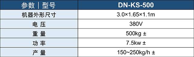 DN-KS-500开松机产品参数表
