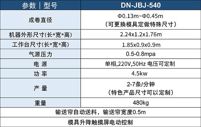 DN-JBJ-540卷被机产品参数表